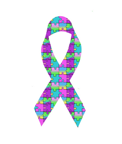 Autism Awareness Ribbon, Colorful Puzzle Pieces,  Free Creative Commons Public Domain Download