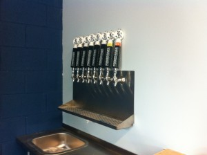 Navy blue beer taps at Forked River Brewing