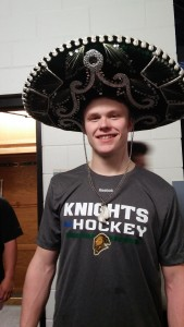 Max Jones rocks the hat trick sombrero earlier this year