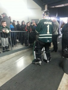Knight's goalie Tyler Parsons signs autographs for young fans