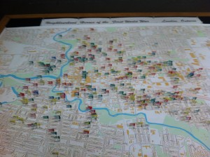 A map of homes affected in London, Ont.  by the fallen during WW1