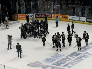 Knights celebrate after taking Western Conference Finals
