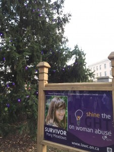 """The tree in Victoria Park lit with purple lights to """"Shine the Light on Woman Abuse"""" with Mary Meadows' sign--one of the women being honoured for this year's campaign."""